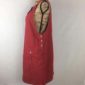 Christopher & Banks Red Denim Overalls Dress Sz L